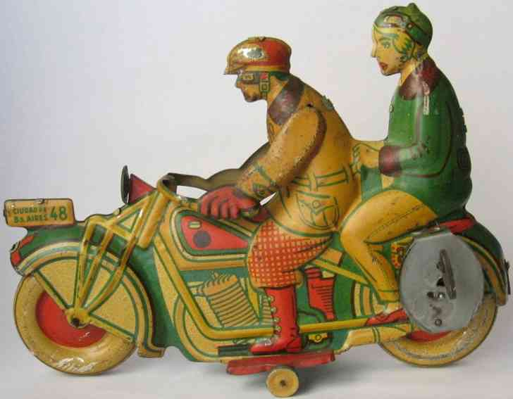matarazzo tin toy motorcycle soly cycle with touring rider and woman passenger,