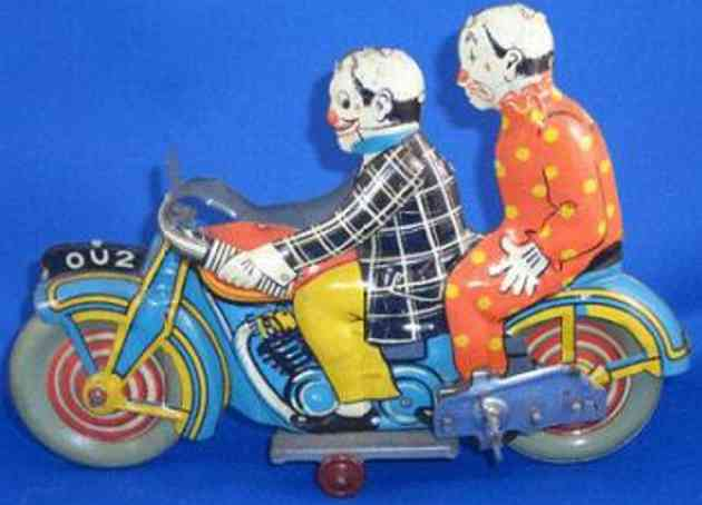 mettoy tin toy motorcycle circus clown rider and clown passenger