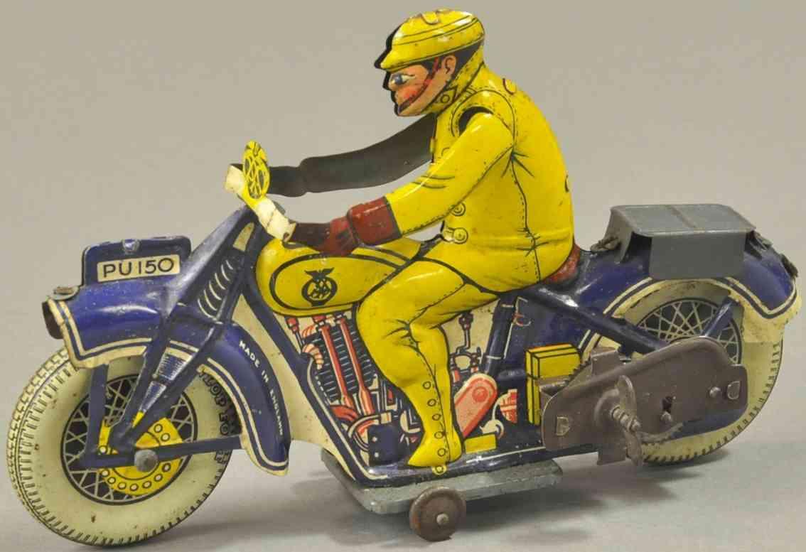 mettoy weissblech spielzeug aa patroillen-motorradfahrer blau gelb