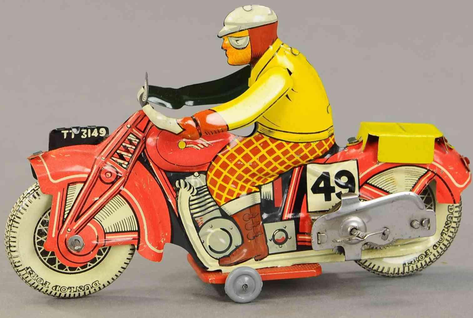 mettoy tt3149 blech spielzeug motorrad mit zivilem fahrer uhrwerk