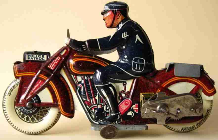 mettoy blech spielzeug motorrad police patrol uhrwerk rot schwarz