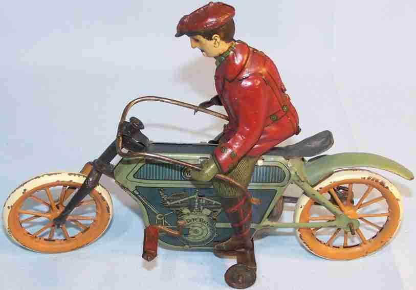 moko moses & kohnstamm blech spielzeug motorrad motorradfahrer mit friktionsantrieb, lithografiert
