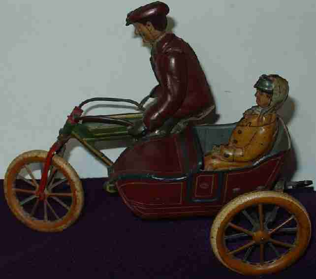 moko moses & kohnstamm tin wind-up, toy motorcycle with sidecar
