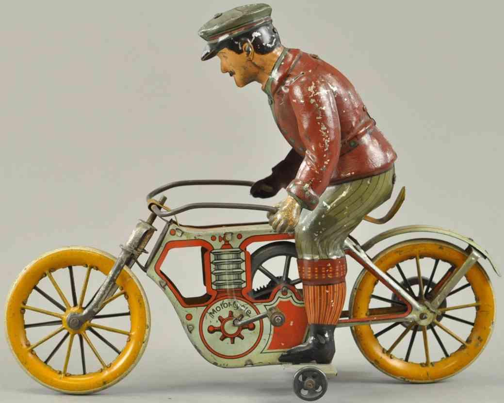 mueller & kadeder blech spielzeug einzylinder motorradfahrer  kurbel