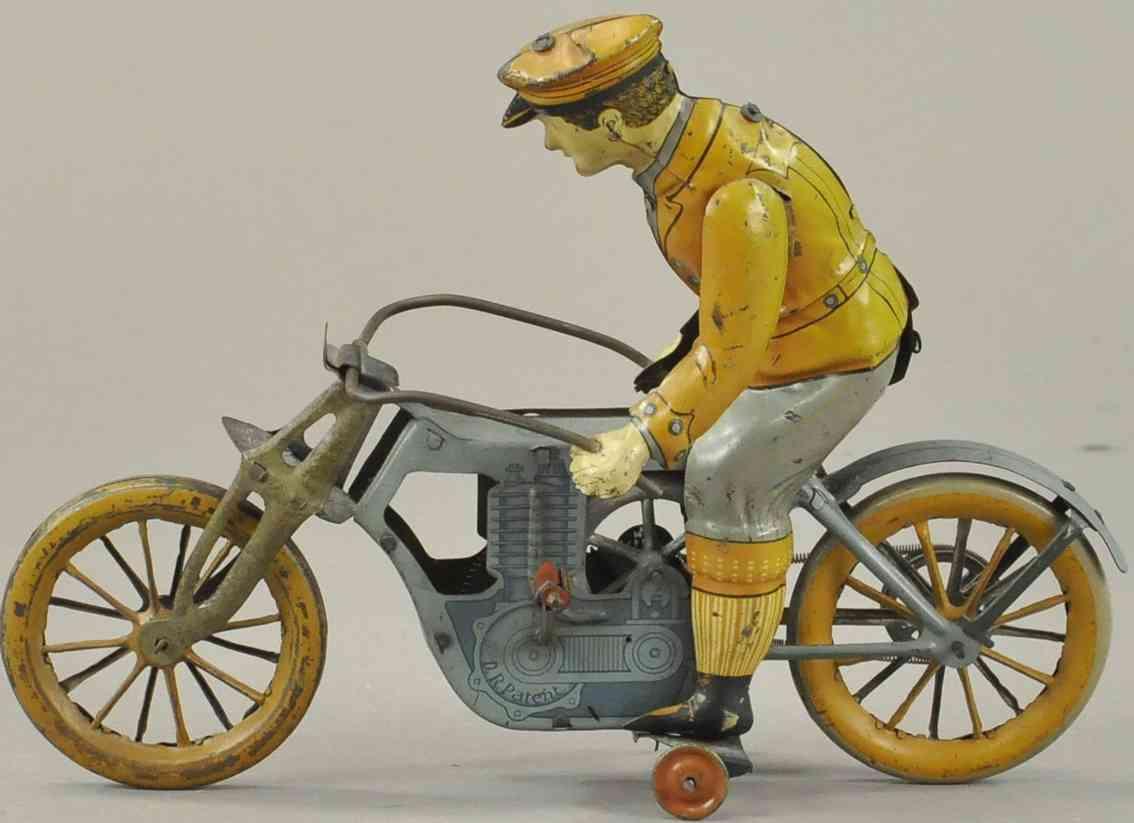 mueller & kadeder blech spielzeug einzylinder motorradfahrer