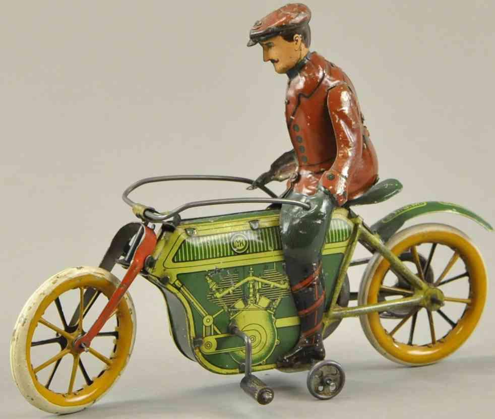 mueller & kadeder blech spielzeug motorrad zwei zylinder fahrer uhrwerk