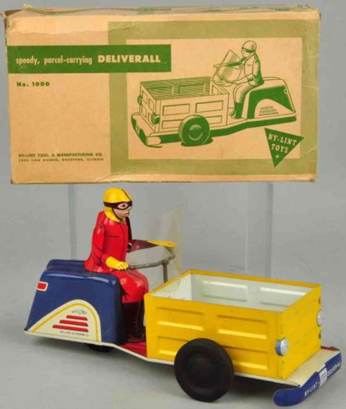 ny-lint co 1000 tin toy motorcycle deliver-all with wind-up
