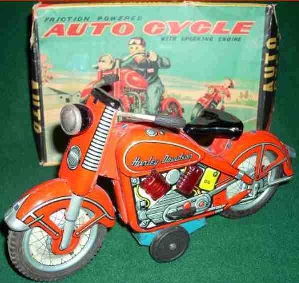 tn nomura toys blech spielzeug motorrad harley-davidson rot uhrwerk