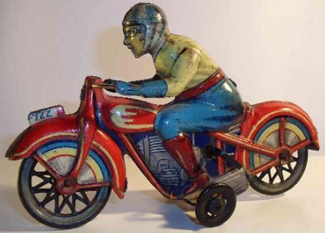 paya 922 tin toy motorcycle motorcycle lithographed with clockwork