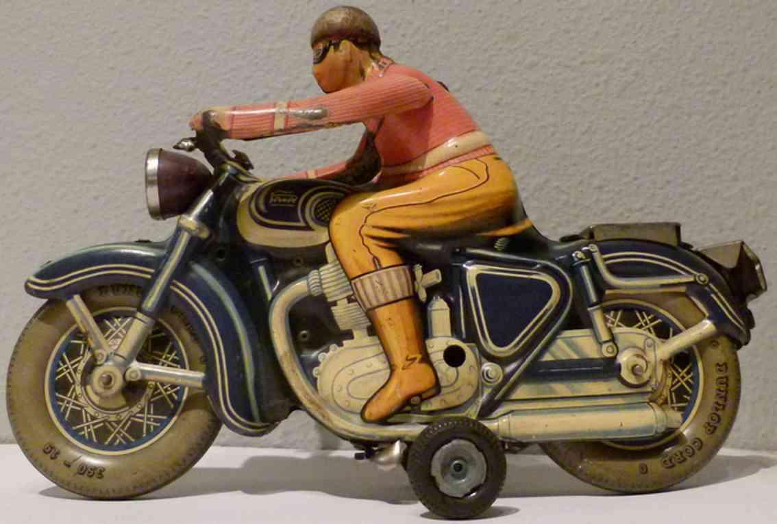 paya blech spielzeug motorrad blechmotorrad, plastikscheinwerfer, windschutz fehlt auf dem