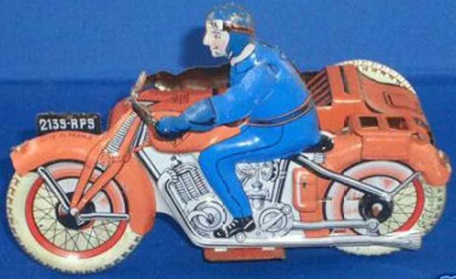 sfa 2130-rp9 blech spielzeug motorrad mit beiwagen rot blau