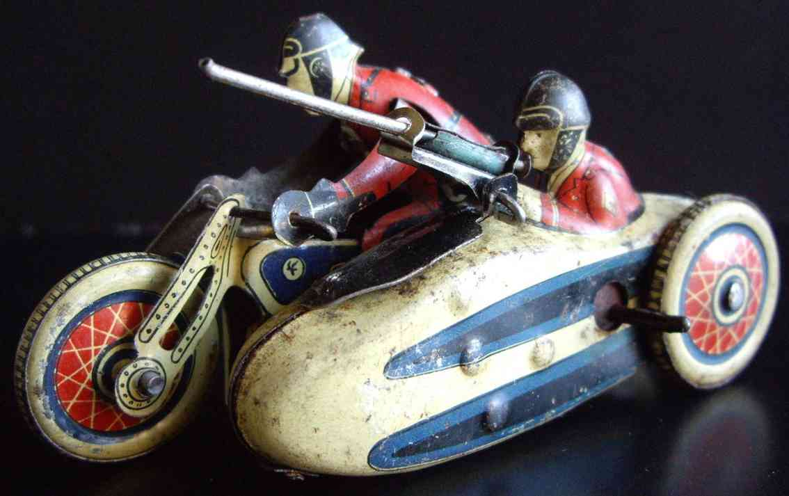 sfa 756 tin toy motorcycle motorcycle with sidecar, friction drive, lithographed
