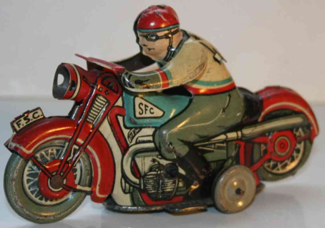 sfc siro ferrari casalpusterlengo tin toy motorcycle with driver