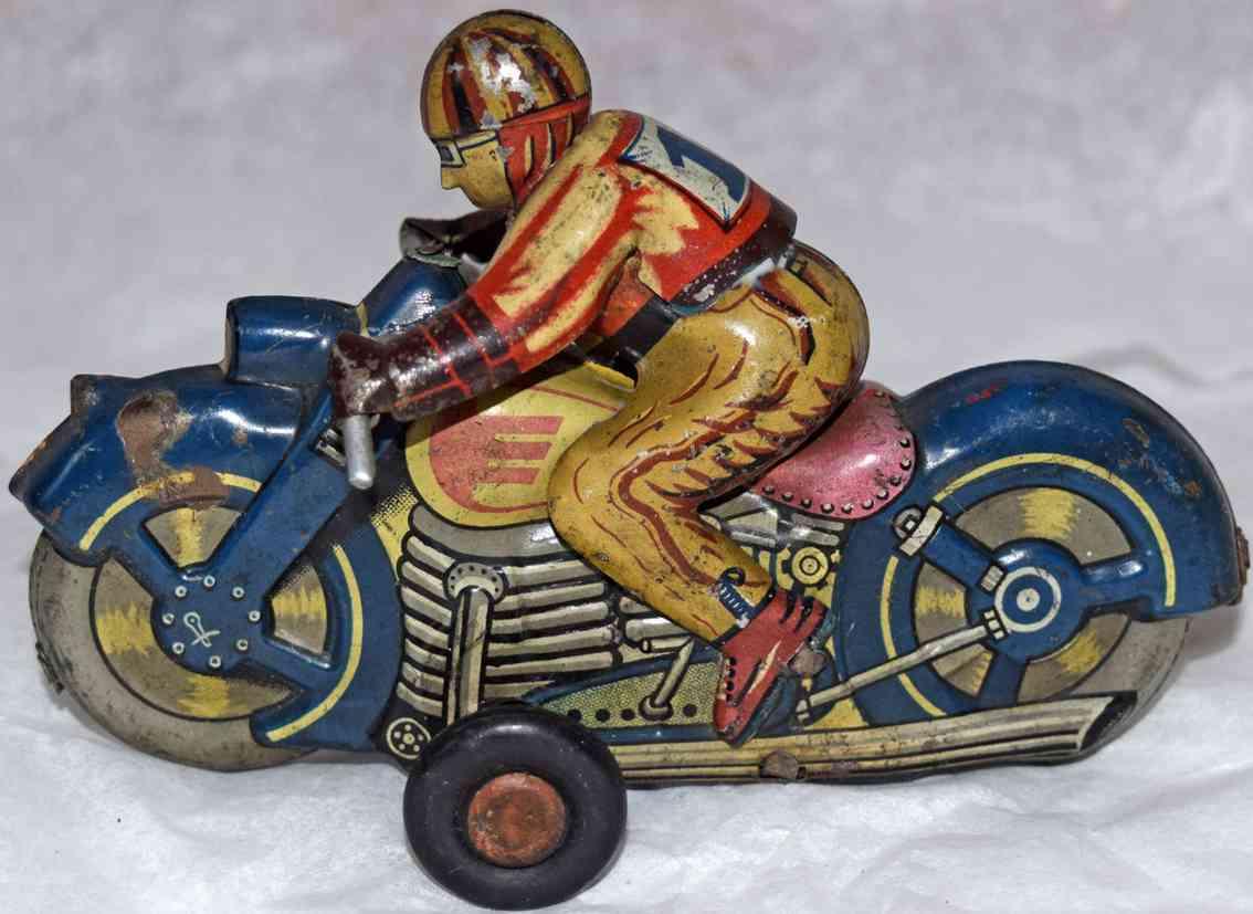 sato toys blech spielzeug motorradfahrer friktionsantrieb