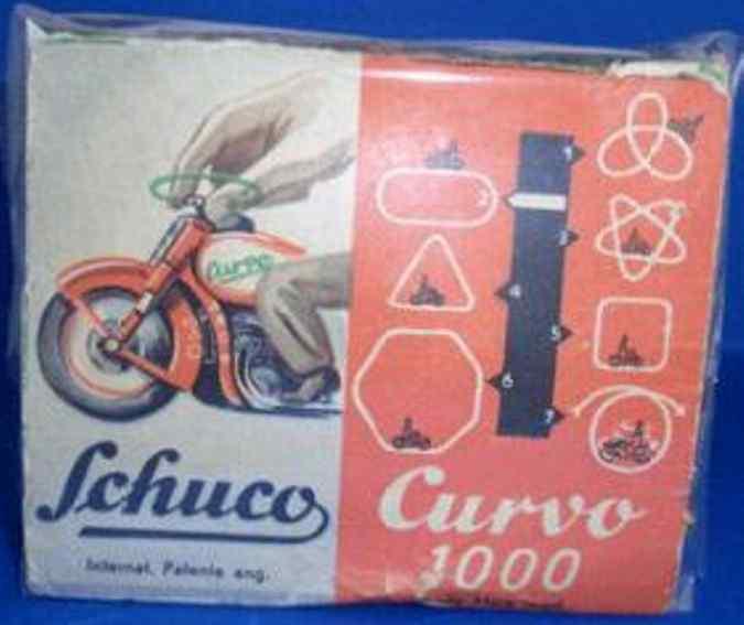 schuco 1000 blech spielzeug motorradfahrer curvo rot