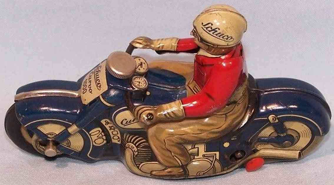 schuco tin toy motorcycle 1000 curvo blue