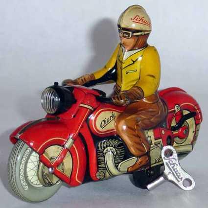 schuco 1005 blech spielzeug harley motorradfahrer uhrwerk