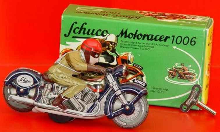 schuco 1006 blech spielzeug motorrad motoracer faehrt im kreis