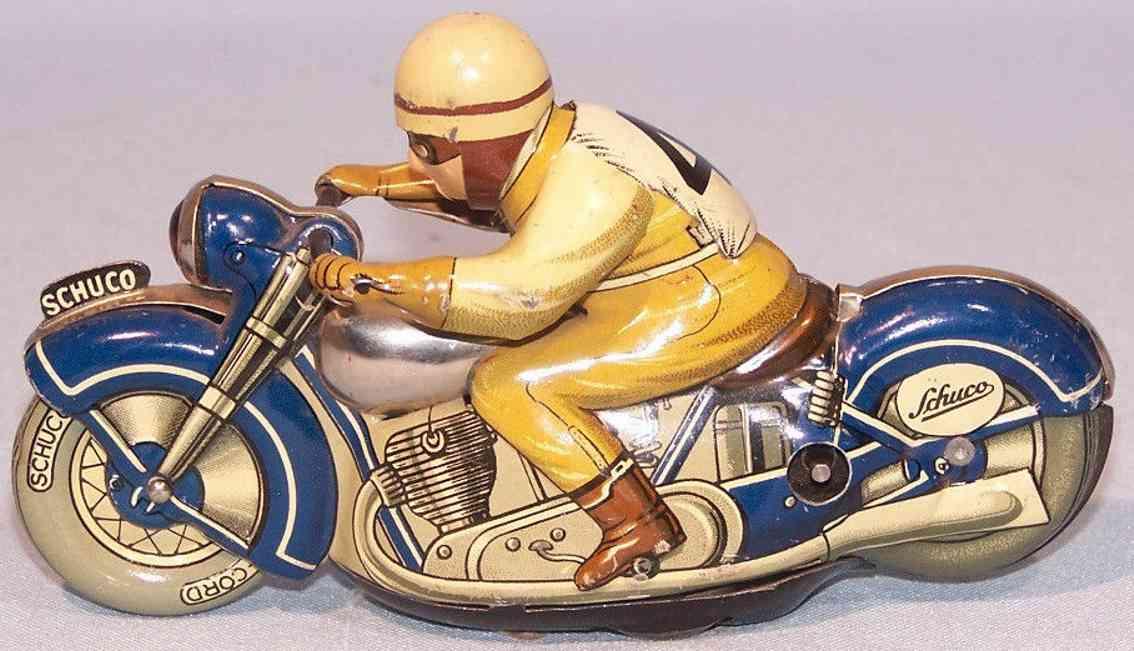 schuco 1012 blech spielzeug mirakomot wende motorrad blau uhrwerk