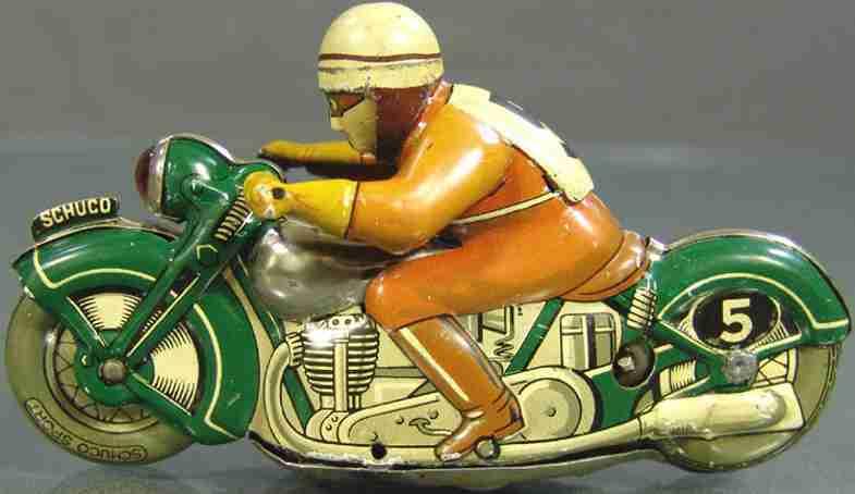 schuco 1012 blech spielzeug motorradfahrer gruen uhrwerk sport
