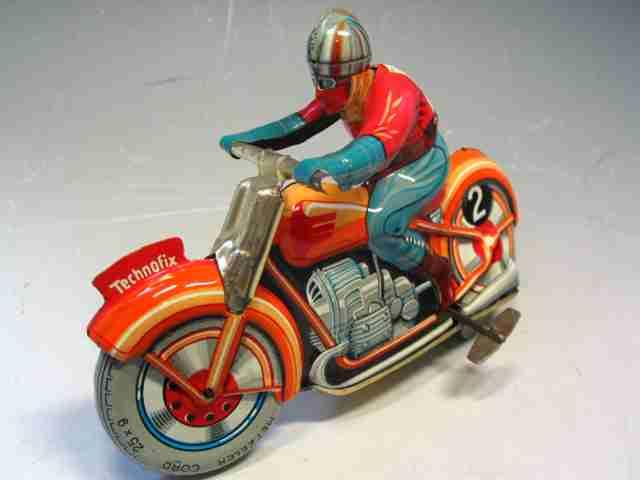 technofix 255 blech spielzeug motorradfahrer