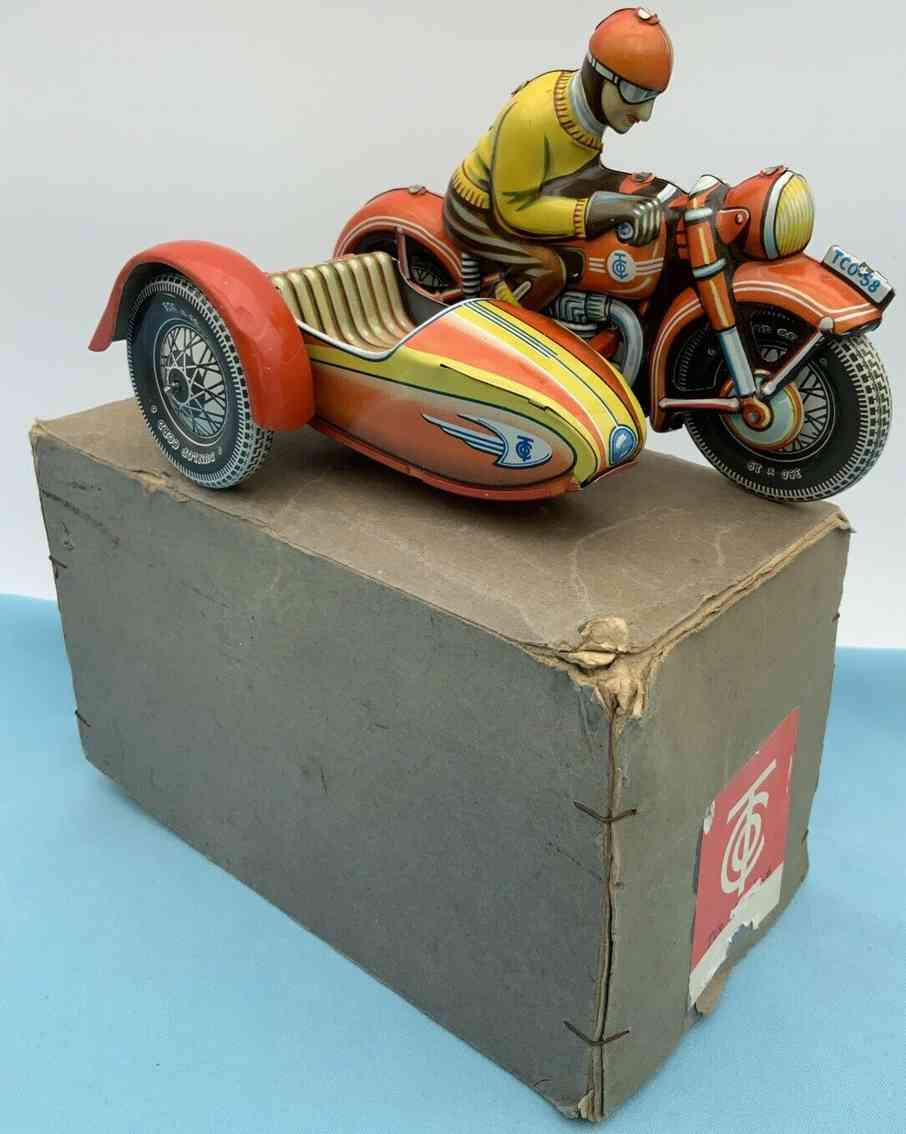 tippco 58 tin toy running-motorcycle clockwork
