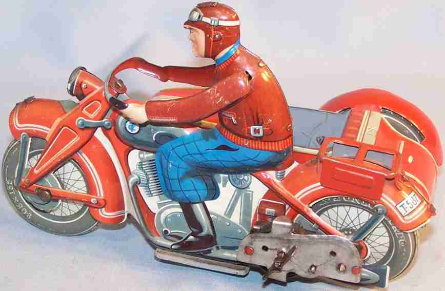 tippco 587 tin windup toy motorcycle sidecar red