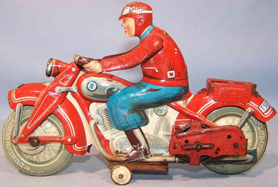 tippco 587 tin toy motorcyclists clockwork red blue