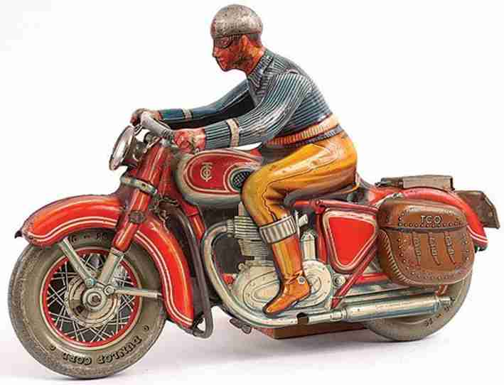 tippco 598 tin toy oversized motorcycle red flywheel