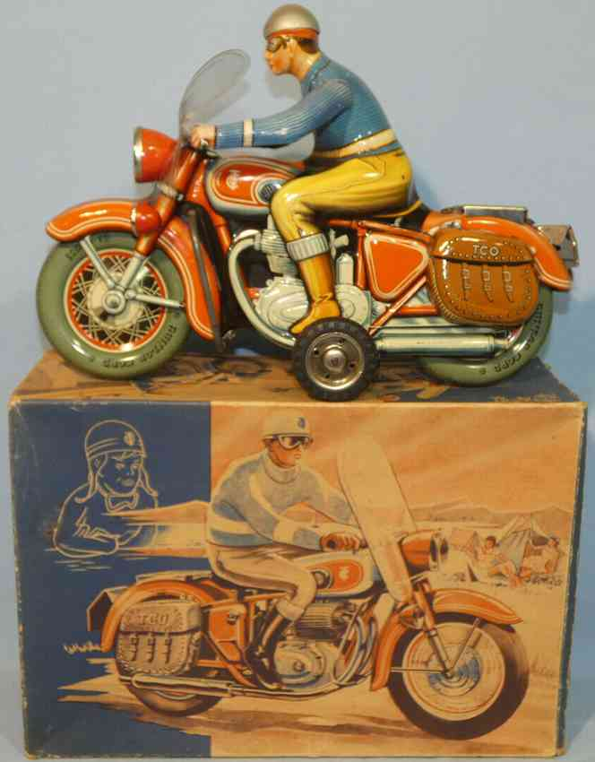 tippco 598/f tin toy motorcycle military police friction drive siren