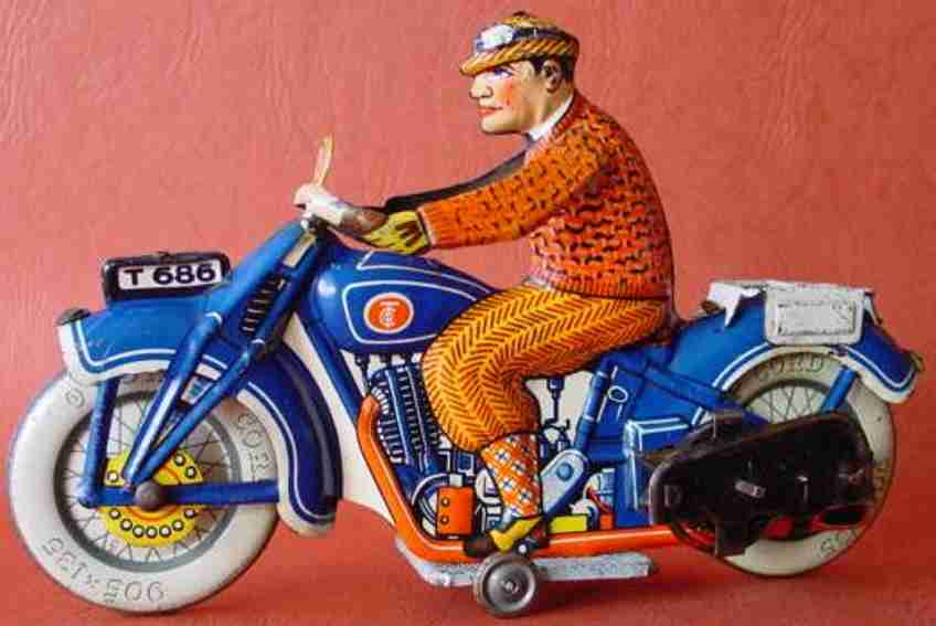 Tippco 686 Tin clockwork operated motorcycle