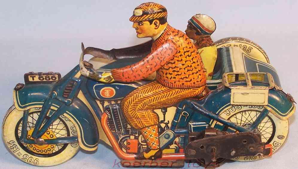 tippco 686 tin toy motorcycle side-car clockwork