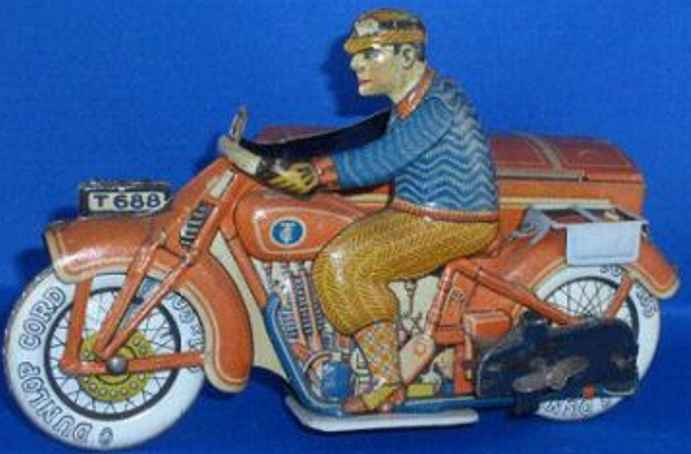 tippco 669 tin toy motorcycle with box car driver clockwork