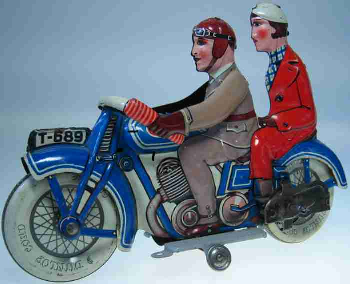 tippco t-689 tin toy motorcycle motorcycle with partner and clockwork