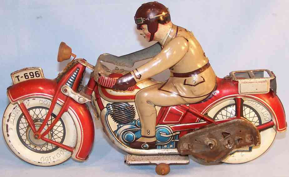 tippco 696 tin toy motorcycle motorcyclist