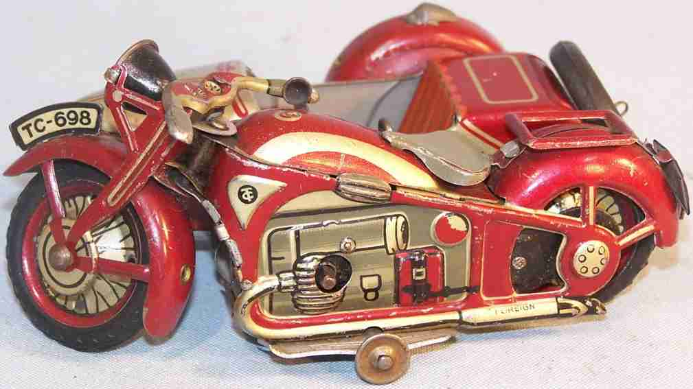 tippco 698 tin toy side-car motorcycle clockwork