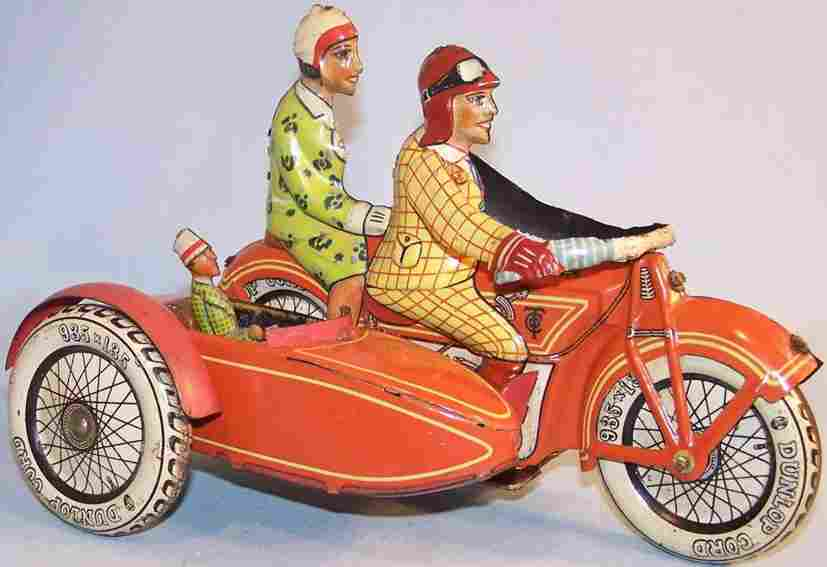 tippco 689  tin wind-up motorcycle with sidecar