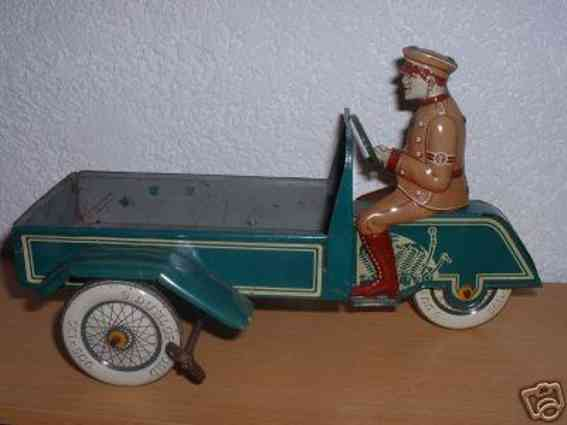 tippco 683 tin toy motorcycle delivery motorcycle wind-up mechanism