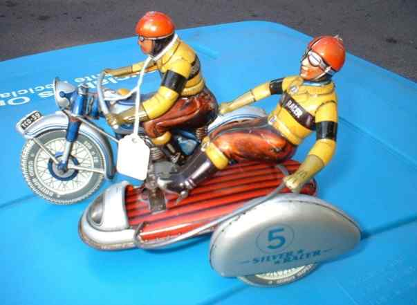 tippco 595 tin toy silver racer motorcycle sidecar
