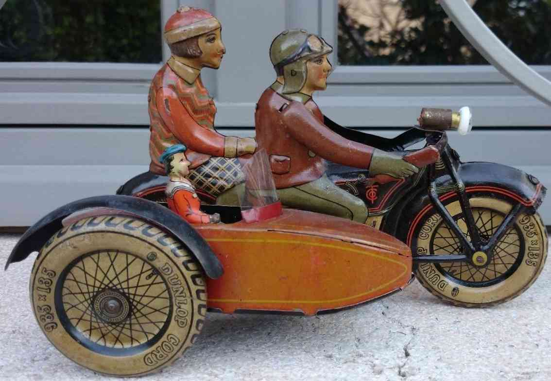 tippco blech spielzeug motorrad mit seitenwagen