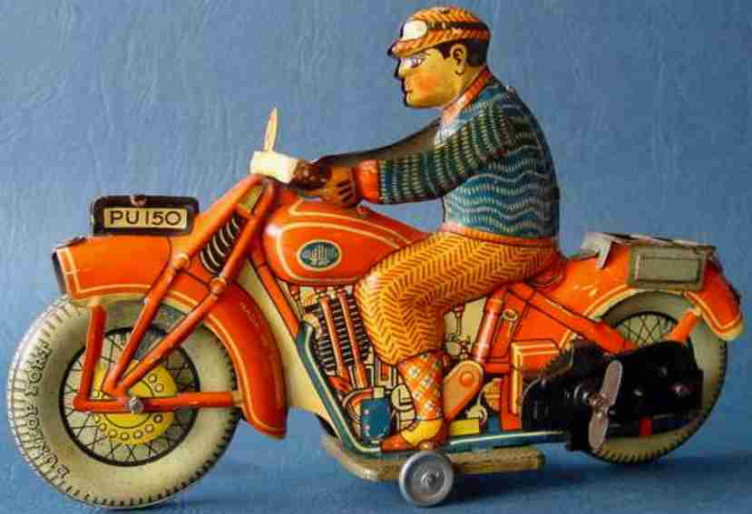 ullmann philip tin toy motorcycle motorcycle with clockwork