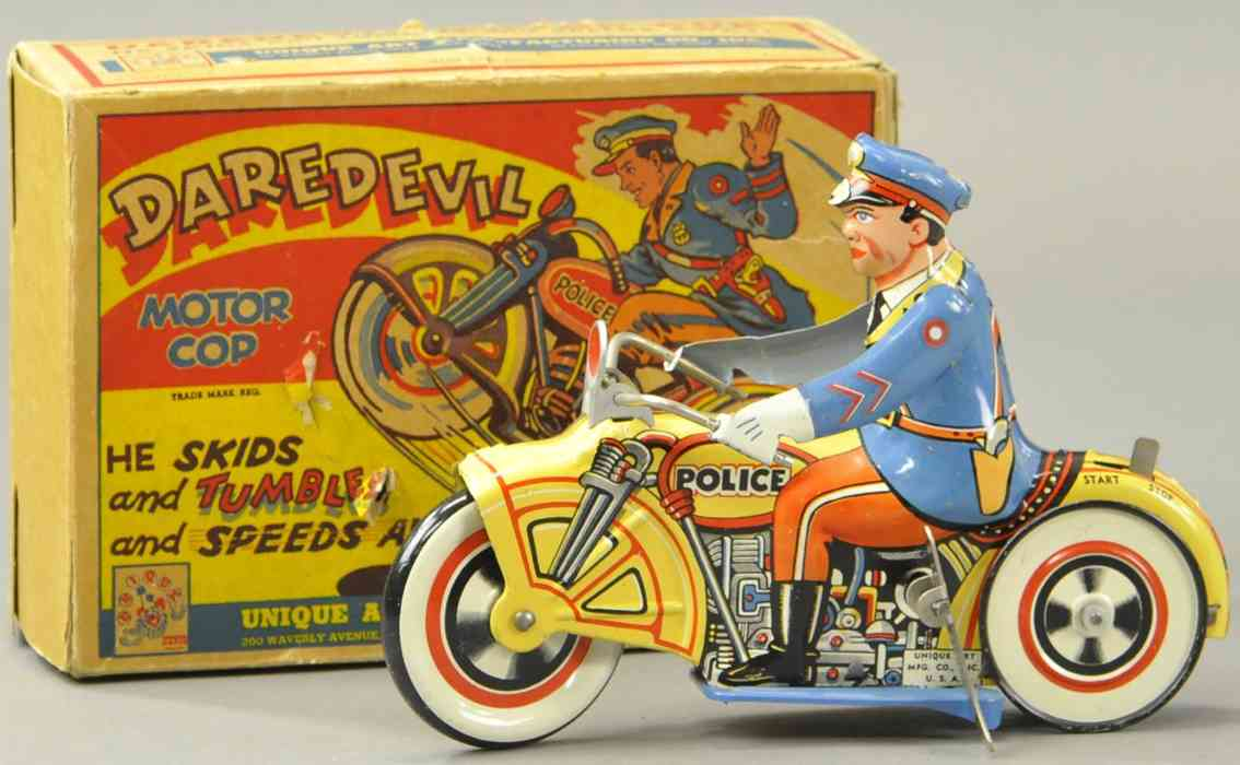 unique art manufacturing company tin toy motorcycle daredevil police motorbike