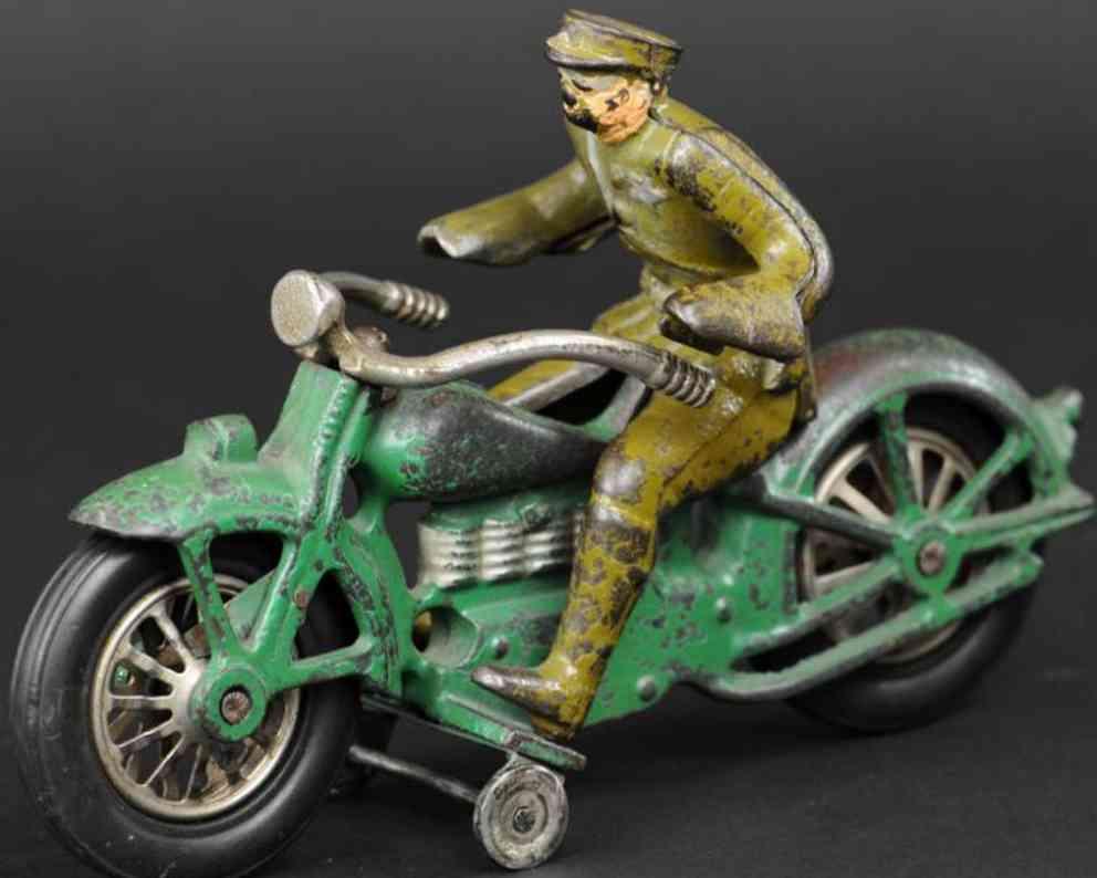 vindex spielzeug gusseisen mike polizei-motorradfahrer gruen braun