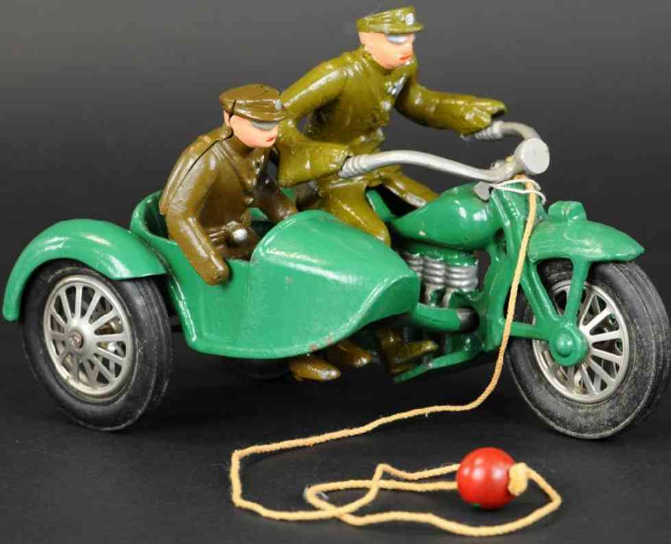 vindex spielzeug gusseisen motorrad beiwagen gruen khaki