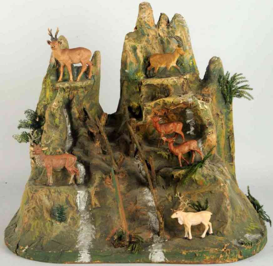 hausser elastolin toy paper mache mountain six animals