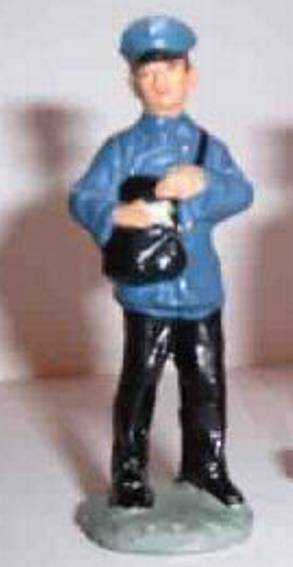 marlin 866/20 paper toy figure mail carrier with black pocket, blue cap, blue jacket, black