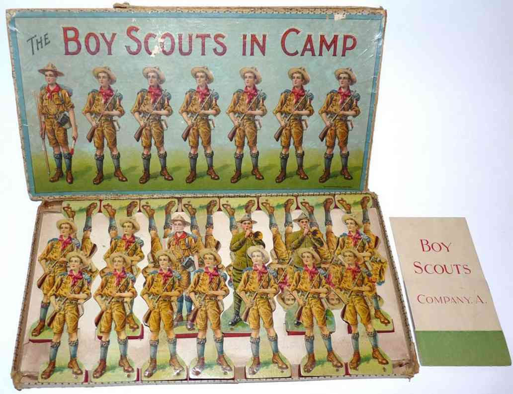 mcloughlin brothers paper toy figure boy scouts incamp, antique pape playset. it includes 21 figu