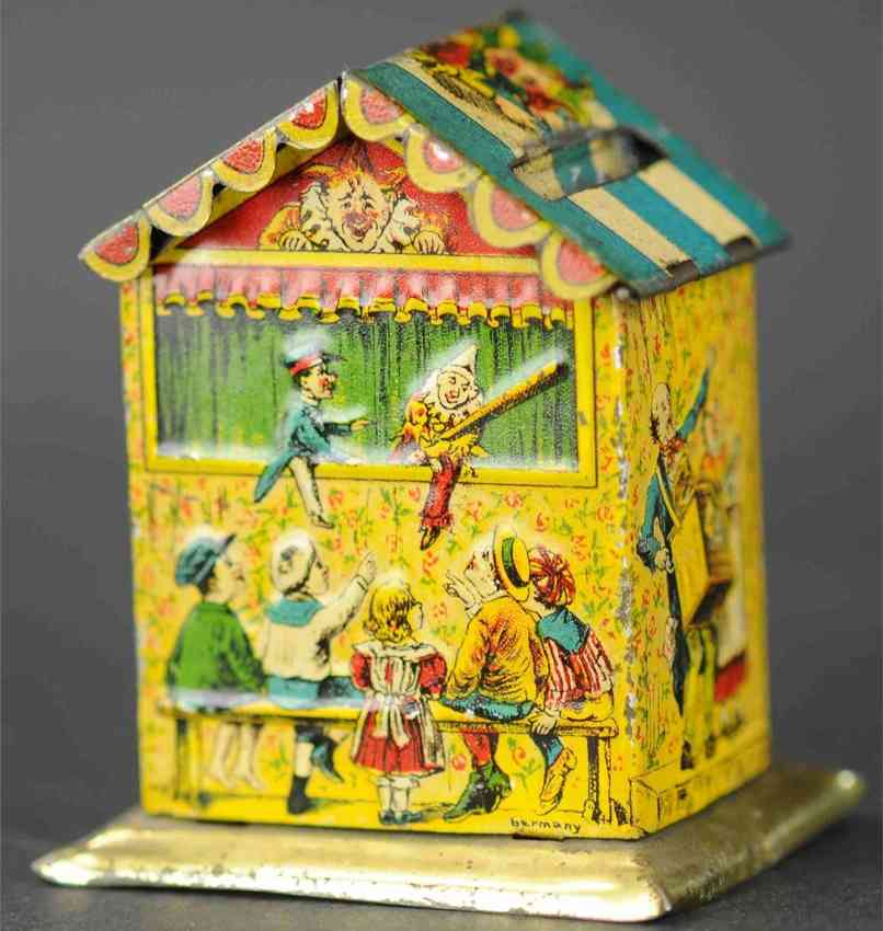 l georg bierling co  penny toy house as mechanical money box punch and judy circus people