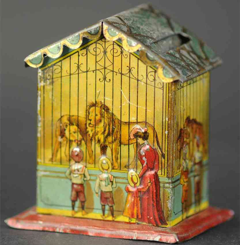 l georg bierling co penny toy house as mechanical money box lions tigers people family zoo