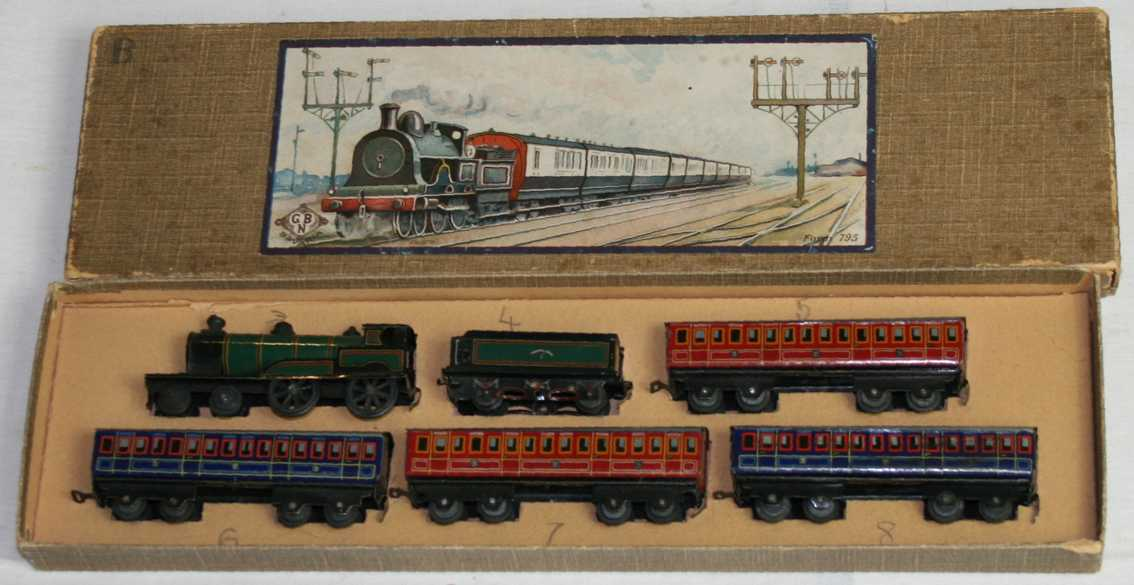 bing 10380/4 penny toy passenger trainsteam loco tender four cars